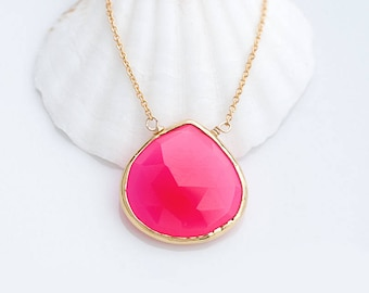 Fuchsia Chalcedony Necklace, Hot Pink Gemstone, Pink Chalcedony Necklace, Hyper Pink Jewelry, Pop of Color Necklace, Layering Necklace