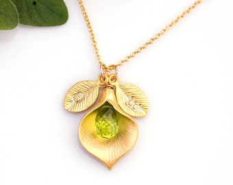 Dainty Peridot Pendant, August Birthstone Necklace, Inspirational Gift, Custom Name Personalized Initials, Calla Lily Jewelry, Nana Gifts
