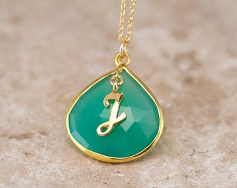 Chrysoprase Gemstone Pendant, Gold Monogram Necklace, Green Stone Necklace, Statement Necklace, Framed Gemstone, Unique Gift Ideas, NK-20