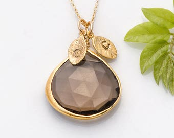 Brown Gemstone Necklace, Hand Stamped Initial Jewelry, Unique Gift, Smokey Quartz Necklace, Pendant Charm, Gift for Sister, Xmas Gift