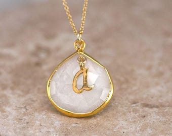 White Agate Necklace, Script Initial Necklace, White Stone Pendant, Monogram Necklace, Custom Christmas Gift, Personalized Gifts, NK-20