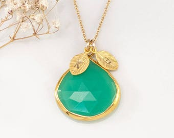 Green Chrysoprase Necklace Gold, Personalized Initial Necklace, Mint Green Gemstone, Statement Necklace, Hand Stamped Necklace, NK-20