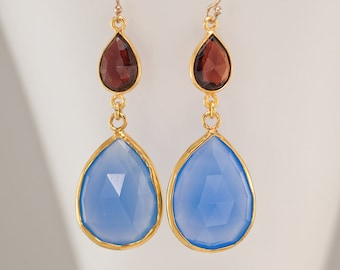 Garnet and Blue Chalcedony Drop Earrings, Gemstone Earrings, Faceted Stones, Red and Blue, Gold Vermeil, Statement Earrings, Prom Jewelry