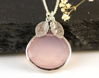 October Birthstone Necklace Sterling Silver, Blush Pink Jewelry, Gift for Sister, Stamped Initial Charm, Rose Quartz Necklace, NK-20