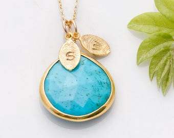 Turquoise Necklace Gold, Custom Stamped Initial Necklace, Gifts for Her, December Birthstone Jewelry, Personalized Christmas Gift, NK-20