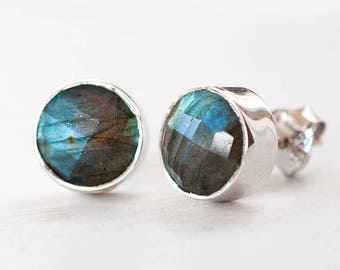 Sterling Silver Labradorite Studs, Round Gemstone Stud Earrings, Natural Stone Studs, Silver Post Earrings, Boho Stud Earrings, Gift for Her