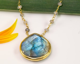 Beaded Labradorite Necklace, Healing Stones, Boho Chic Choker, Natural Gemstone Jewelry, Celestial Necklace, Aurora Borealis, Gift for Her