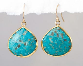 Natural Turquoise Earrings, Boho Earrings, Drop Earrings Gold, Gemstone Earrings, Gift for Her, Turquoise Dangle Earrings, Jewelry Trends