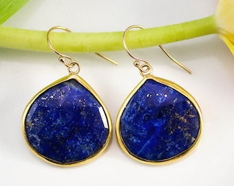 Natural Lapis Lazuli Drop Earrings Gold, September Birthstone, Birthday Jewelry, Statement Earrings, Blue Stone Earrings, Dangle Earrings