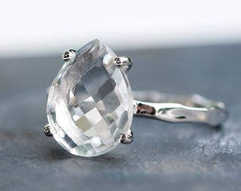 Clear Quartz Ring - Engagement Ring - Gemstone Ring - Stacking Ring - Silver Ring - Tear Drop Ring - Prong Set Ring