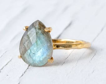 Labradorite Ring Gold, Solitaire Ring, Gemstone Ring, Stacking Ring, Gold Ring, Tear Drop Ring, Prong Set Ring, Unique Boho Ring, RG-PP