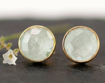 Natural Aquamarine Stud Earrings, March Birthstone Jewelry, Gold Stud Earrings, Gemstone Studs, Simple Stud Earrings