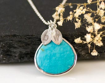 Turquoise Necklace Sterling Silver, Unique Boho Necklace, Personalized Gift for Friend, Birthstone Jewelry, Stamped Jewelry, BFF Gift, NK-20