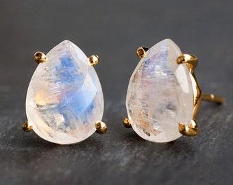 Rainbow Moonstone Studs, June Birthstone, Post Earrings, Celestial Earrings, Simple Modern Studs, Gift for Her, Mother's Day