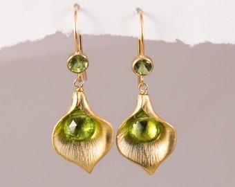 August Birthday Peridot Drop Earrings, Flower Hook Dangle, Green Birthstone Gift, Mothers Day Gift Jewelry, Calla Lily Petal Earrings, Boho