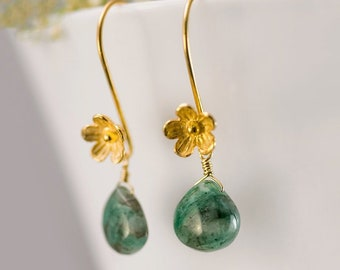 Emerald May Birthstone Earrings Gold, Long Hook Earrings, Dainty Flower Earrings, Tiny Drop Gemstone, Birthday Gift for Her, Sterling Silver