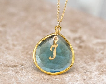 December Birthstone Necklace, Blue Topaz Necklace Gold, Personalized Initial Necklace, Monogram Jewelry, Meaningful Gifts, NK-20