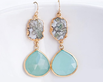 Aqua Blue Chalcedony Earrings - Green Moss Quartz earrings - Two Tier Gemstone earrings - Gold Earrings - Long Drop earrings