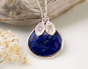 Lapis Lazuli Necklace Sterling Silver, Genuine Gemstone Pendant, September Birthstone Gift, Initial Necklace Silver, Handmade Gift, NK-20