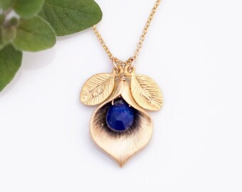 Lapis Lazuli Pendant Necklace, Personalized September Birthstone, Gold Filled Chain, Grandma Gift, Custom Stamped Initials, Mothers Day Gift
