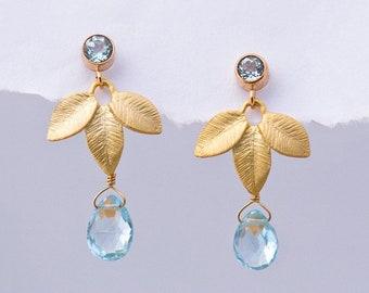 Dainty Blue Topaz Drop Earrings, December Birthstone Gift, Bridal Something Blue, Floral Gold Leaves, Birthstone Earrings, Mom Jewelry Gift