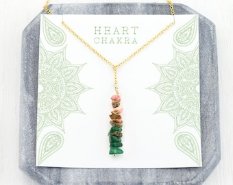 Inspirational Heart Chakra Necklace, Pink and Green Gems, Modern Boho, Yoga Jewelry, Spiritual Gift for Her, Love Necklace, Sacred Geometry
