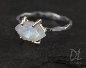 Moonstone Ring Silver - June Birthstone Ring - Stack Ring - Stackable Birthstone Rings - Silver Ring - Marquise Prong Set Ring