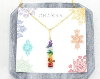 Chakra Crystals Necklace, Healing Necklace, 7 Chakra Pendant Necklace, Yoga Gift for Her, Boho Rainbow Lariat Necklace, Balancing Chakras