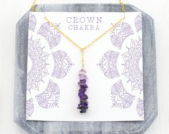 Crown Chakra Necklace, Lariat Necklace, Healing Crystals, Purple Gemstones, Amethyst, Iolite, Quartz, Layering Necklace, Meditation Jewelry