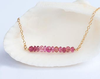 October Birthstone Bar Necklace, Pink Tourmaline Gemstone Necklace, Layer Necklace, Delicate Necklaces, Minimal Gemstone Necklace, NK-DB