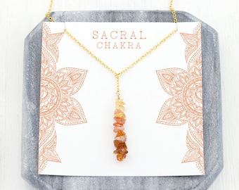 Healing Sacral Chakra Necklace, Stone Meaning Card Gift, Summer Jewelry, Layering Necklace, Sunstone Jewelry, Raw Citrine, Meditation Lariat