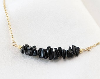 Raw Black Obsidian Bar Necklace, Minimalist Necklace, Layering Necklace, Gemstone Bar Necklaces, Delicate Gemstone Choker, NK-RB