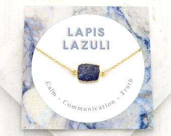 Lapis Lazuli Necklace, Simple Blue Lapis Pendant, September Birthstone Gift, Natural Stone Necklace, Gem Slice, Healing Lapis Lazuli, NK-GS