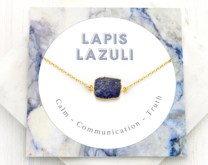 Featured listing image: Lapis Lazuli Necklace, Simple Blue Lapis Pendant, September Birthstone Gift, Natural Stone Necklace, Gem Slice, Healing Lapis Lazuli, NK-GS