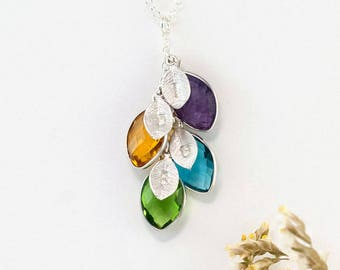 Silver Personalized Birthstone Necklace, Custom Initial Leaf Necklace, Nana Jewelry, Christmas Gift From Son, Jewelry that Inspires, NK-BC