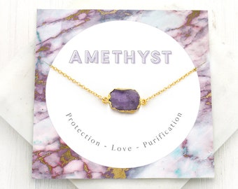 Boho Amethyst Necklace, Natural February Birthstone Gift, Healing Crystal Necklace, Inspirational Jewelry, Gem Slice, Gift for Mom, NK-GS