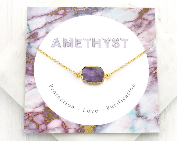 Featured listing image: Boho Amethyst Necklace, Natural February Birthstone Gift, Healing Crystal Necklace, Inspirational Jewelry, Gem Slice, Gift for Mom, NK-GS