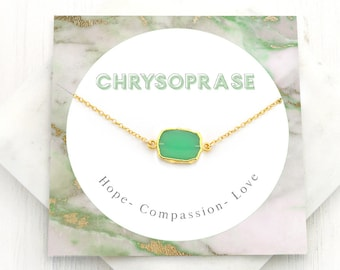 Chrysoprase Necklace, Green Stone Slice Necklace, Healing Crystal Necklace, Gold Framed Stone Choker, Inspirational Gift, Wedding Party Gift