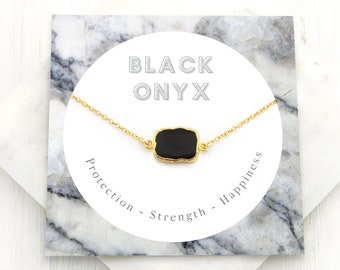 Black Onyx Necklace, Strength Necklace, Black Gemstone Pendant, Simple Stone Choker, Protection Necklace, Healing Crystal Jewelry, NK-GS
