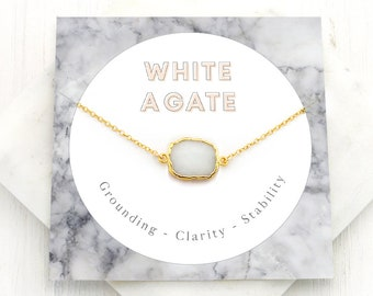 White Agate Gem Slice, Simple Stone Pendant, Minimalist Layering Necklace, Modern Bridal, Genuine Gemstone Connector, Healing Gifts, NK-GS