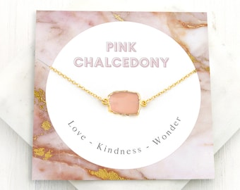 Pink Chalcedony Gemstone Pendant, Love Necklace, Light Pink Stone Necklace, Wedding Gift, Healing Crystal Gift, Bridesmaid Gifts, NK-GS