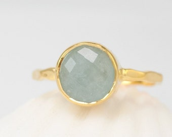 Natural Aquamarine Ring, March Birthstone, Gemstone Ring, Stacking Ring, Round Cut Ring, Modern Gift, Simple Faceted Stone Ring, RG-RD