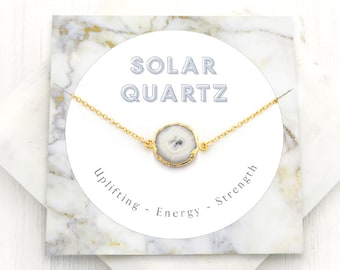 Solar Quartz Necklace, Celestial Jewelry, Healing Crystal Necklace, Gem Slice, Inspirational Gift, Natural Gemstone, Celestial Sky, NK-GS