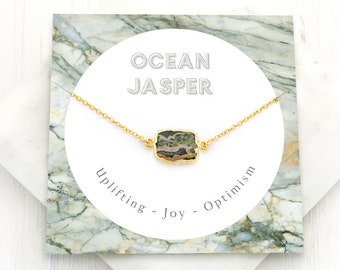 Ocean Jasper Necklace, Natural Gemstone Necklace, Unique Stone Choker, Gold Framed Stone, Slice Necklace, Meaning Card, Healing Gift, NK-GS