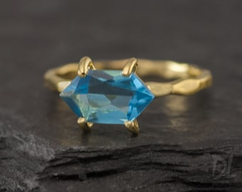 London Blue Topaz Ring Gold - December Birthstone Ring - Stack Ring - Stackable Birthstone Ring - Gold Ring - Marquise Prong Set Ring, RG-MQ