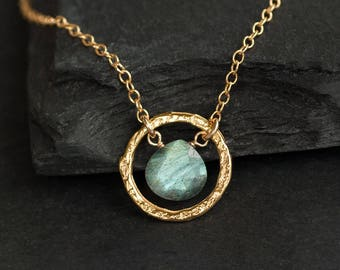 Labradorite Pendant Necklace, Hammered Circle Necklace, Dainty Gemstone Necklace, Gift for Girlfriend, Simple Stone, NK-HC