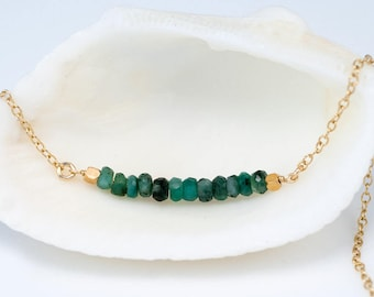 Raw Emerald Bar Necklace, 14k Gold Filled Gemstone Bar Necklace, May Birthstone Necklace, Layering Necklace, Choker Necklace, NK-DB