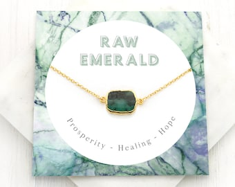 Green Emerald Stone Necklace, Emerald Necklace Gold, May Birthstone Gift, Dainty Chain, Simple Green Stone Pendant, Gift Ideas, NK-GS