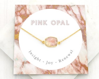 Pink Opal Necklace, Joy Healing Necklace, Simple Gem Slice Choker, Boho Layering Necklace, October Birthstone Gift, Opal Pendant, NK-GS