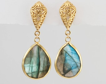 Labradorite Earrings, Gold Dangle Earrings, Statement Earrings, Filigree Earrings, Gold Framed Gemstone, Drop Earrings, Ornate, Gift for Her